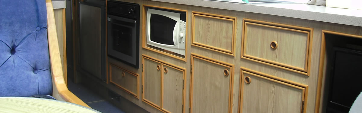 storage cupboards on a holiday cruiser